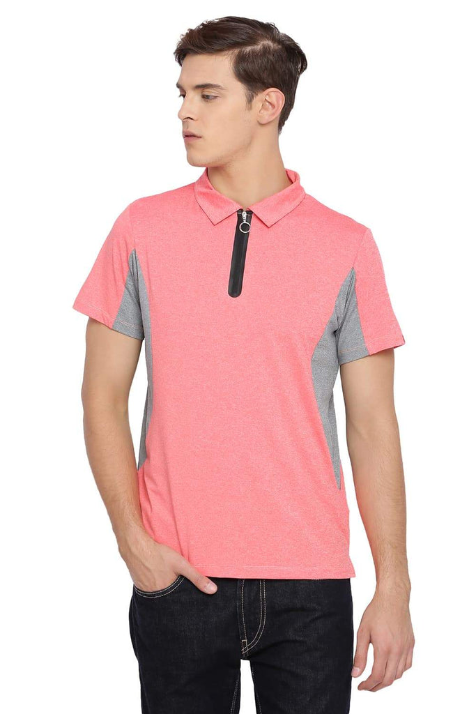 BASICS MUSCLE FIT FUSION CORAL POLO T SHIRT-18BTS39524 (4491546918993)