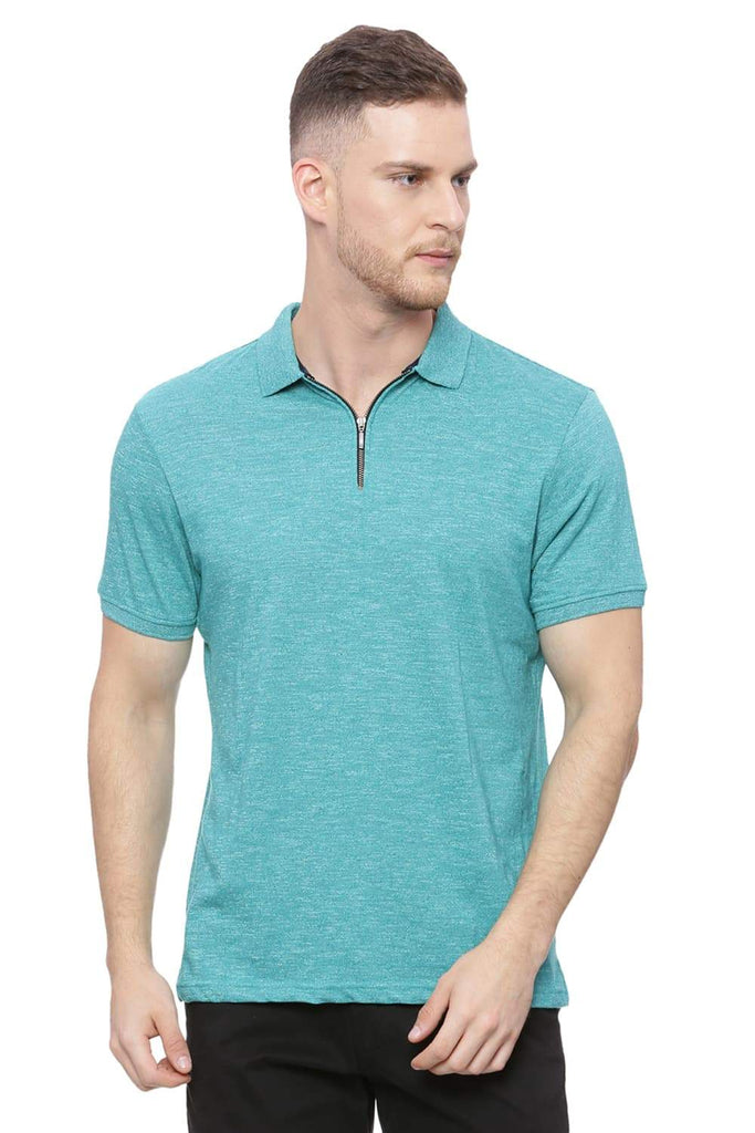 BASICS MUSCLE FIT GALAPAGOS GREEN POLO T SHIRT-18BTS37918 (4491089281105)