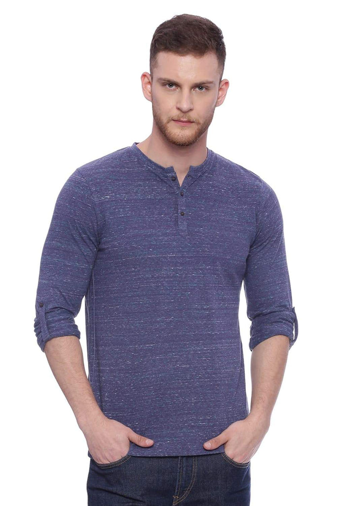 BASICS MUSCLE FIT GALAXY BLUE HENLEY T SHIRT-18BTS37825 (4491086495825)