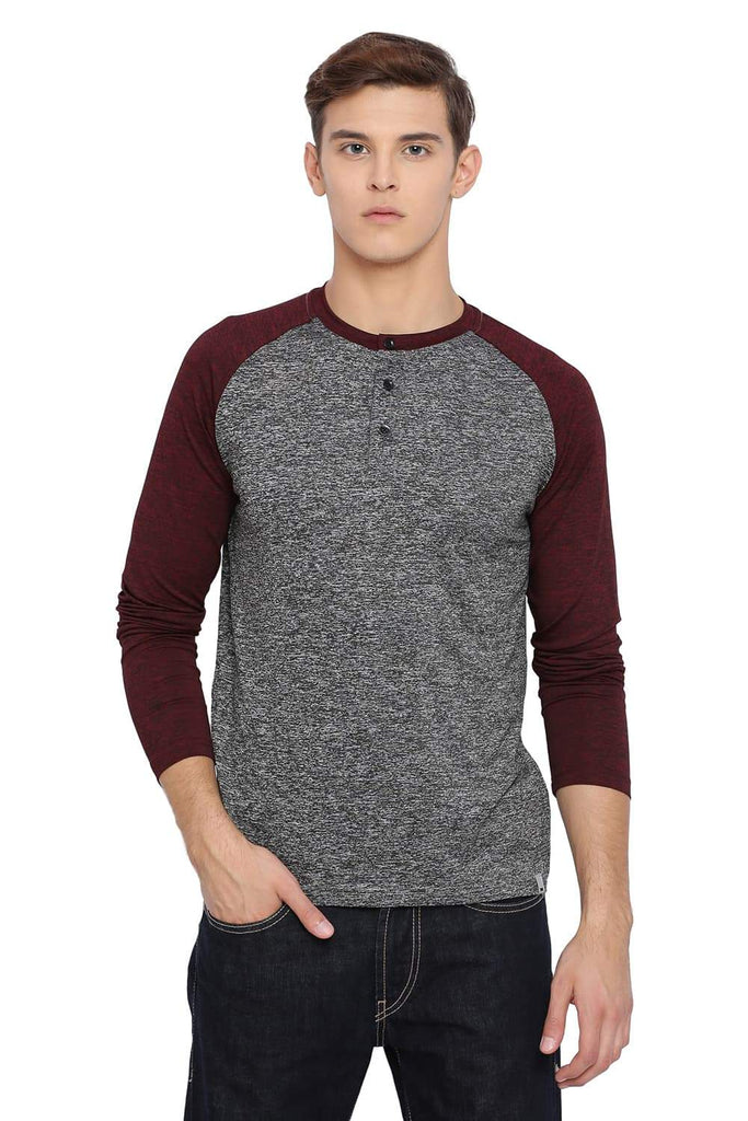BASICS MUSCLE FIT GARGOYLE GREY HENLEY T SHIRT-18BTS39529 (4491547148369)