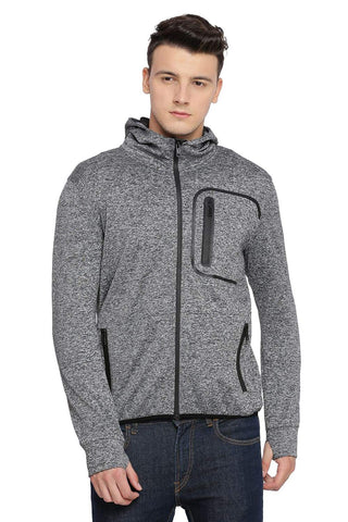 BASICS MUSCLE FIT GARGOYLE GREY HOODED KNIT JACKET-18BJK39609 (4491532599377)