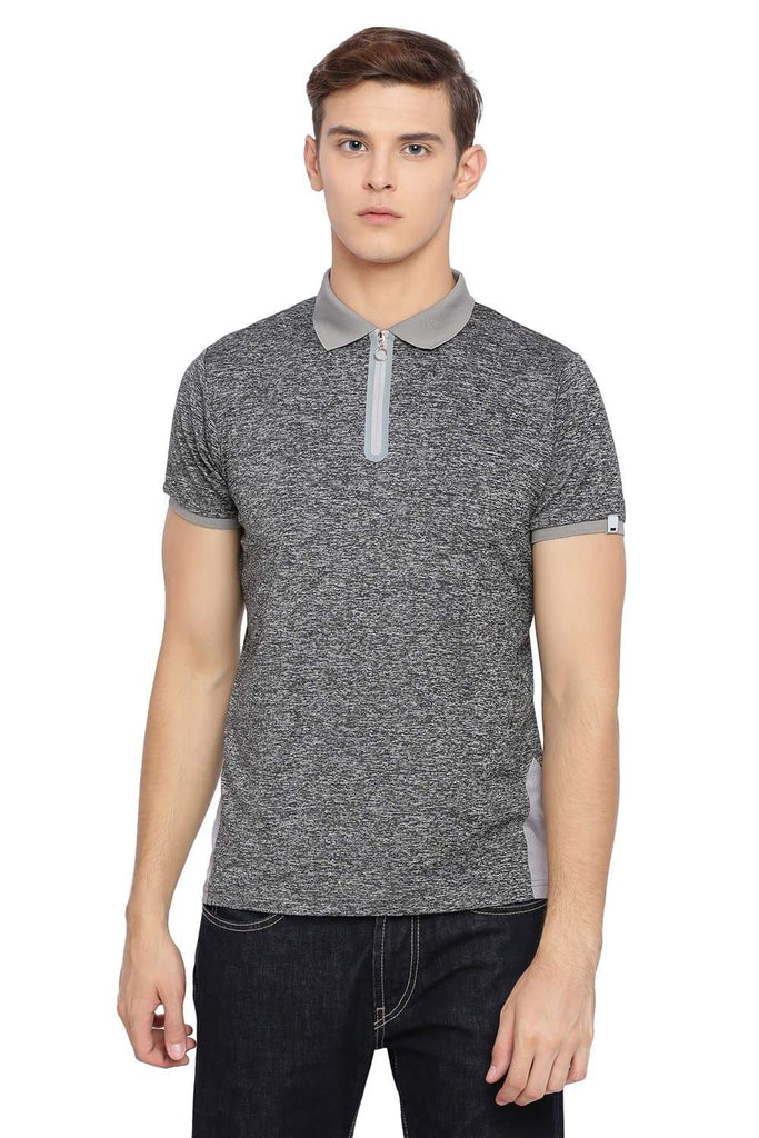 BASICS MUSCLE FIT GARGOYLE GREY POLO T SHIRT-18BTS39528 (4491547115601)