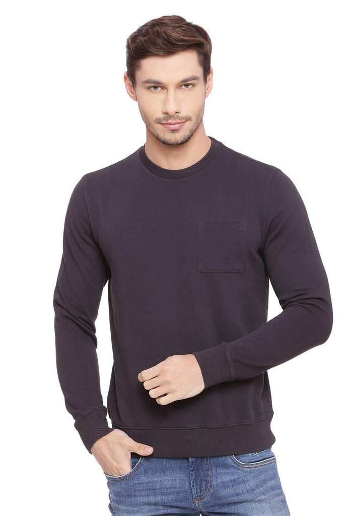 BASICS MUSCLE FIT GRAPHITE PULLOVER SWEATER-18BSW39691 (4491256037457)