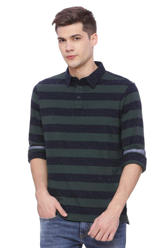 BASICS MUSCLE FIT GREEN GABLES STRIPED POLO T SHIRT-18BTS38261 (4491021844561)