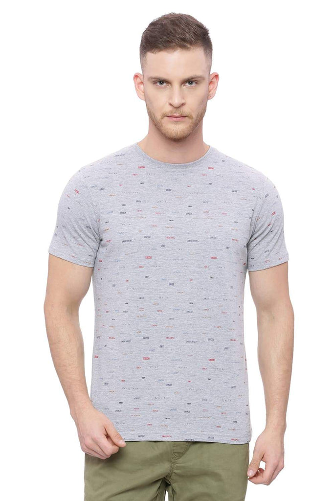 BASICS MUSCLE FIT HEATHER GRAY CREW NECK T SHIRT-18BTS37997 (4491021221969)