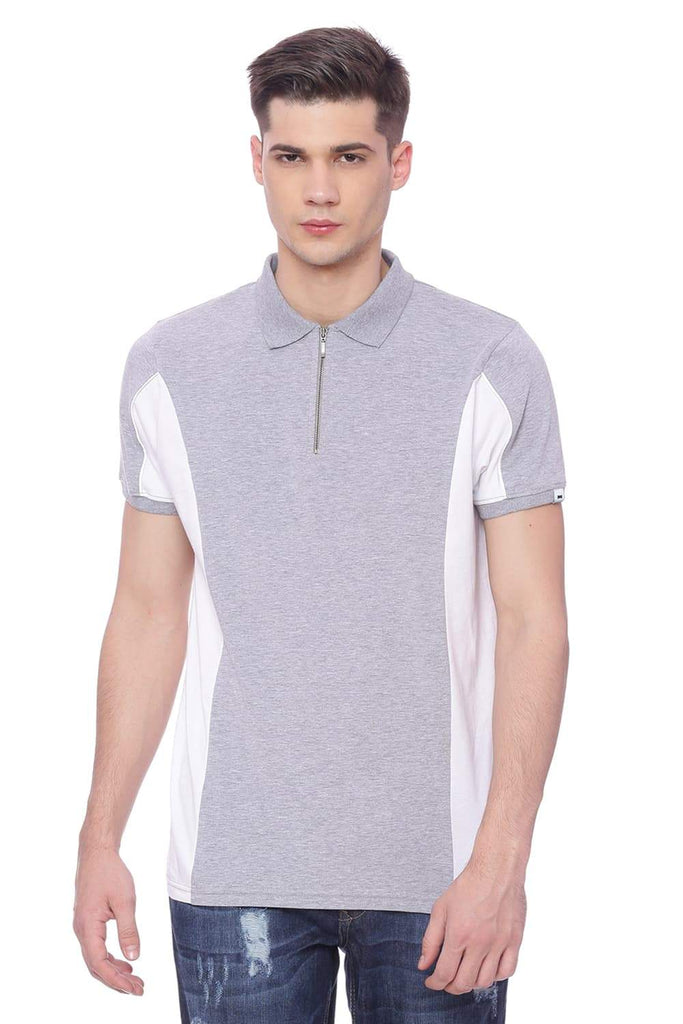 BASICS MUSCLE FIT HEATHER GRAY STRETCH POLO T SHIRT-18BTS37870 (4491087741009)