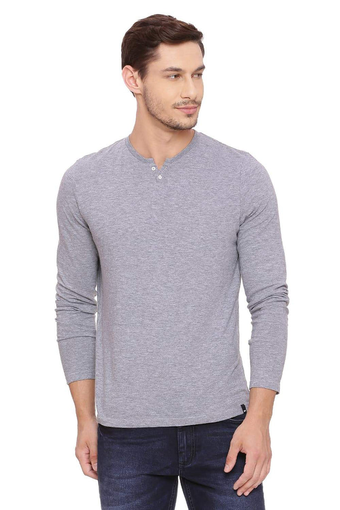 BASICS MUSCLE FIT HEATHER GREY HENLEY T SHIRT-18BTS39494 (4491477680209)