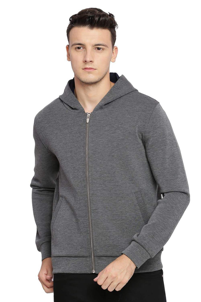 BASICS MUSCLE FIT HEATHER GREY HOODED KNIT JACKET-18BJK39602 (4491531190353)