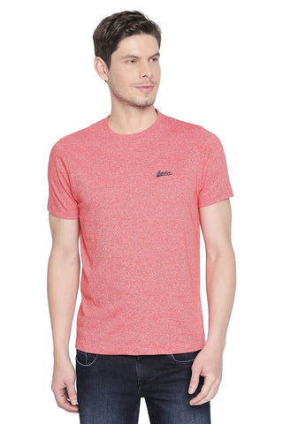 BASICS MUSCLE FIT HOT CORAL HEATHER CREW NECK T SHIRT-19BTS42638 (4491618123857)