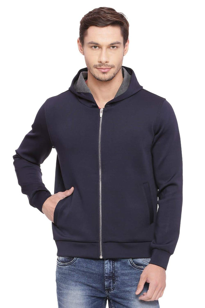 BASICS MUSCLE FIT INSIGNIA BLUE HOODED KNIT JACKET-18BJK39603 (4491531812945)