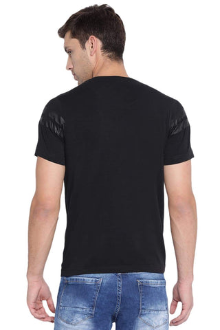 BASICS MUSCLE FIT JET BLACK CREW NECK T SHIRT-19BTS40878 (4491583357009)