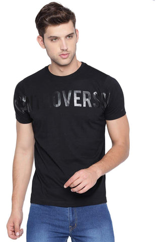 BASICS MUSCLE FIT JET BLACK CREW NECK T SHIRT-19BTS40936