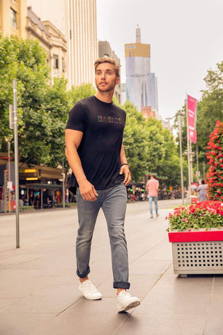 BASICS MUSCLE FIT JET BLACK CREW NECK T SHIRT-19BTS41029 (4491566186577)