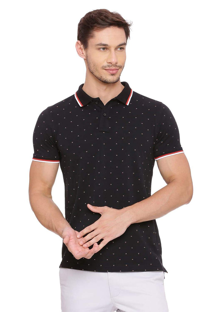 Basics Muscle Fit Jet Black Printed Polo T-Shirt Front