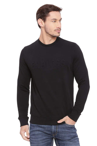 BASICS MUSCLE FIT JET BLACK PULLOVER SWEATER-18BSW39683 (4491251089489)