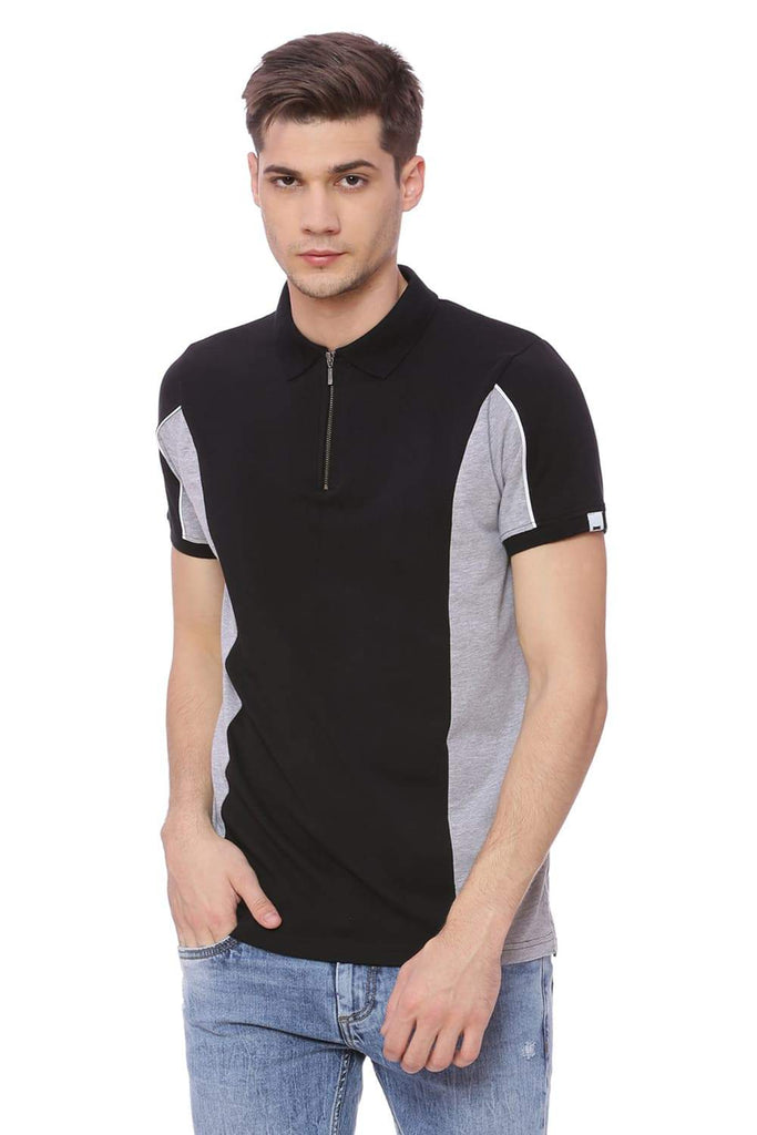 BASICS MUSCLE FIT JET BLACK STRETCH POLO T SHIRT-18BTS37871 (4491088068689)