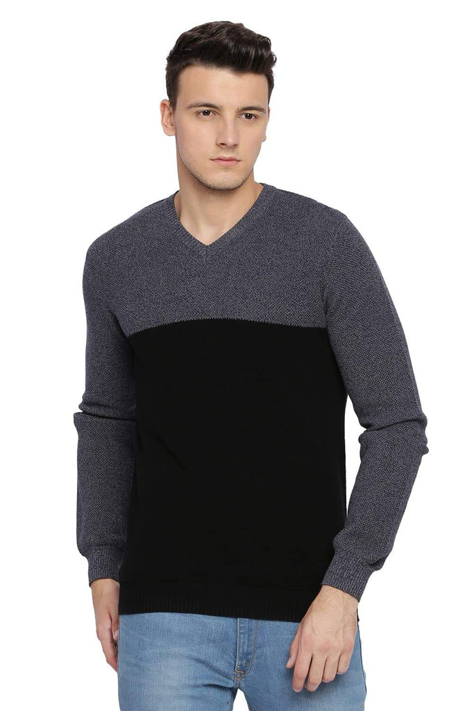 BASICS MUSCLE FIT JET BLACK V NECK SWEATER-18BSW39793