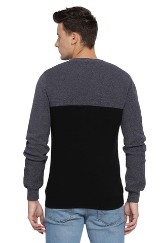 BASICS MUSCLE FIT JET BLACK V NECK SWEATER-18BSW39793 (4491545378897)