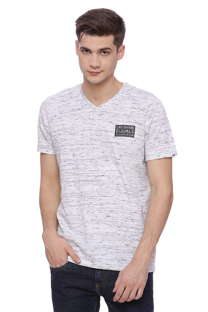 Basics Muscle Fit Light Grey V Neck T-Shirt Front