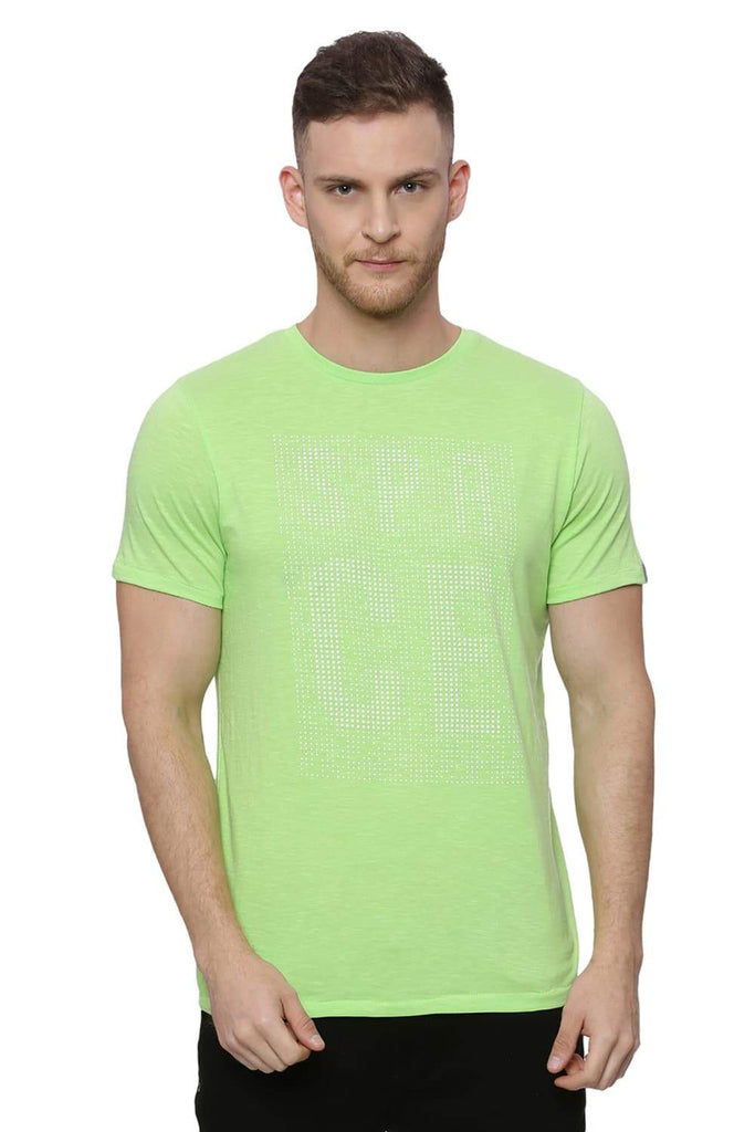 Basics Muscle Fit Lime Green T Shirt Front
