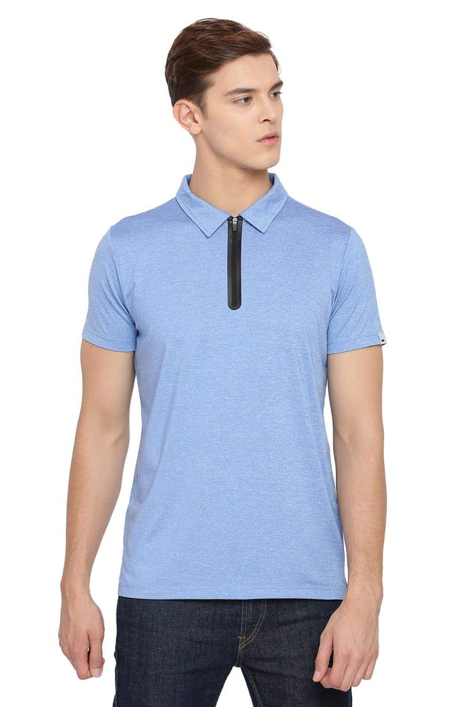 BASICS MUSCLE FIT MARINA BLUE POLO T SHIRT-18BTS39522 (4491546886225)