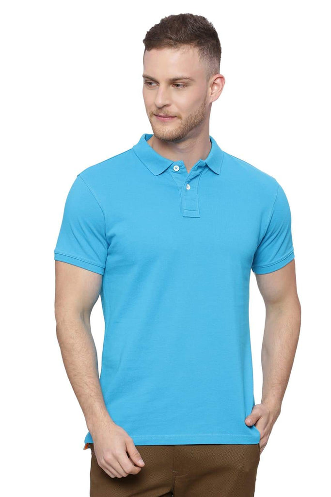 BASICS MUSCLE FIT MARINE BLUE POLO T SHIRT-18BTS38409