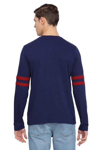 BASICS MUSCLE FIT MEDIEVAL BLUE HENLEY LONG SLEEVE T SHIRT-18BTS39509 (4491546296401)