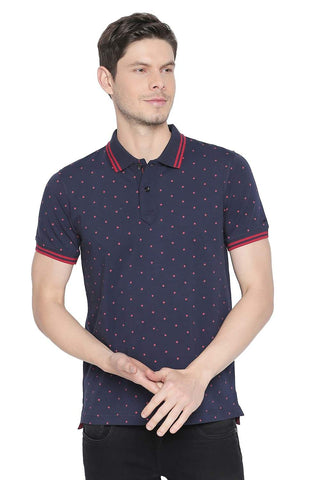 BASICS MUSCLE FIT MEDIEVAL BLUE PRINTED STRETCH POLO T SHIRT-19BTS42597 (4491710693457)