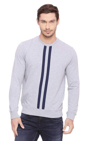 BASICS MUSCLE FIT MID GREY MEL PULLOVER SWEATER-18BSW39690 (4491254890577)