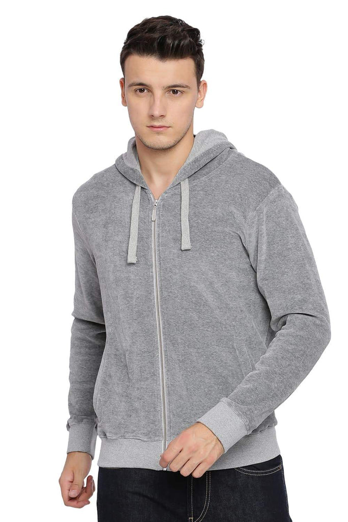 BASICS MUSCLE FIT MID GREY MELANGE HOOD KNIT JACKET-18BJK39710 - BasicsLife