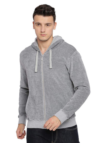 BASICS MUSCLE FIT MID GREY MELANGE HOOD KNIT JACKET-18BJK39710 (4491542757457)