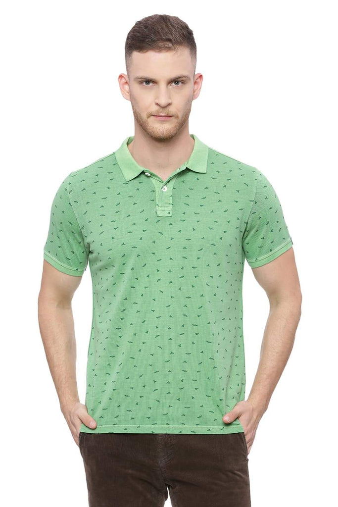 BASICS MUSCLE FIT MING GREEN PRINTED POLO T SHIRT-18BTS37860 (4491013062737)