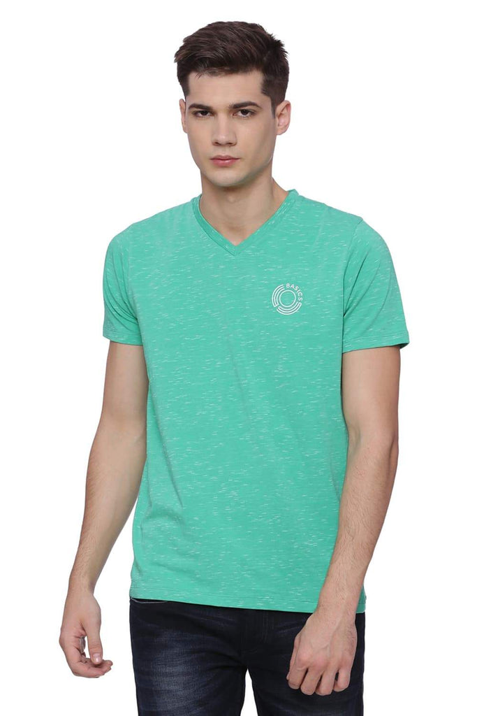 BASICS MUSCLE FIT MING GREEN V NECK T SHIRT-18BTS38013 (4491057561681)