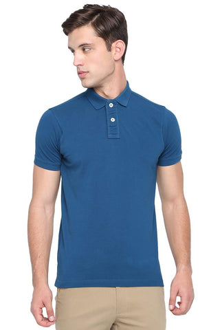 BASICS MUSCLE FIT MOROCCAN BLUE POLO T SHIRT-19BTS41066 - BasicsLife