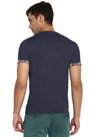 BASICS MUSCLE FIT NAVY HEATHER CREW NECK T SHIRT-19BTS41031 (4491589124177)