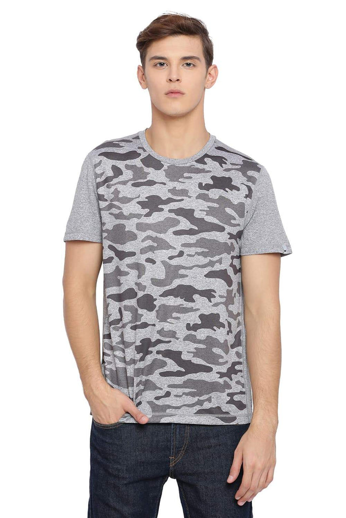 BASICS MUSCLE FIT NEUTRAL GREY PRINTED CREW NECK T SHIRT-18BTS39576 (4491547803729)