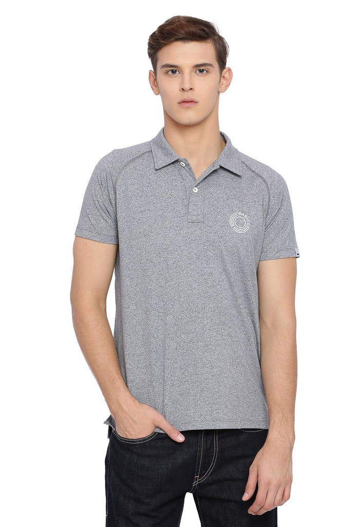 BASICS MUSCLE FIT NEUTRAL GREY RAGLAN HALF SLEEVE POLO T SHIRT-18BTS39571 (4491547541585)