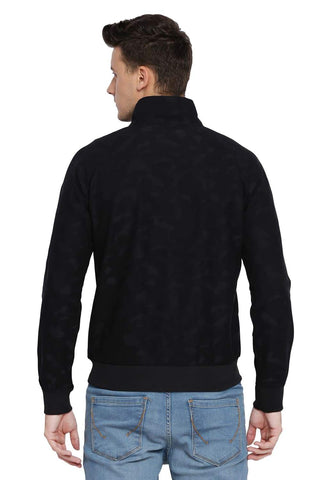BASICS MUSCLE FIT NIGHT SHADOW HIGH NECK KNIT JACKET-18BJK39851 (4491543281745)