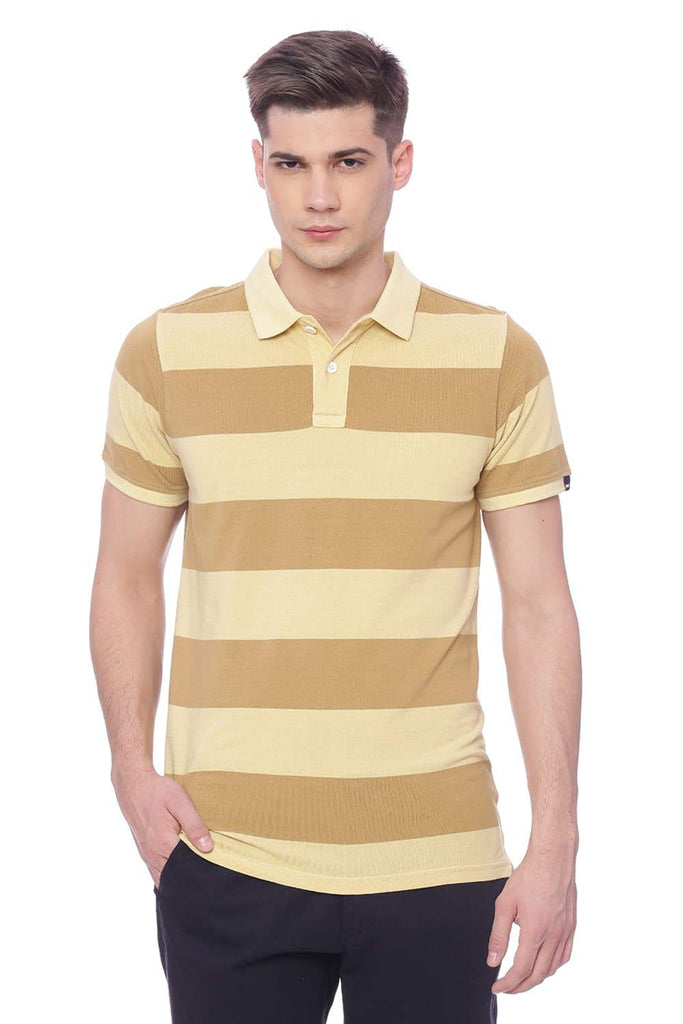 BASICS MUSCLE FIT PALE BANANA POLO T SHIRT-18BTS38257 (4491058151505)