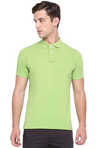 BASICS MUSCLE FIT PARROT GREEN POLO T SHIRT-19BTS41063 - BasicsLife