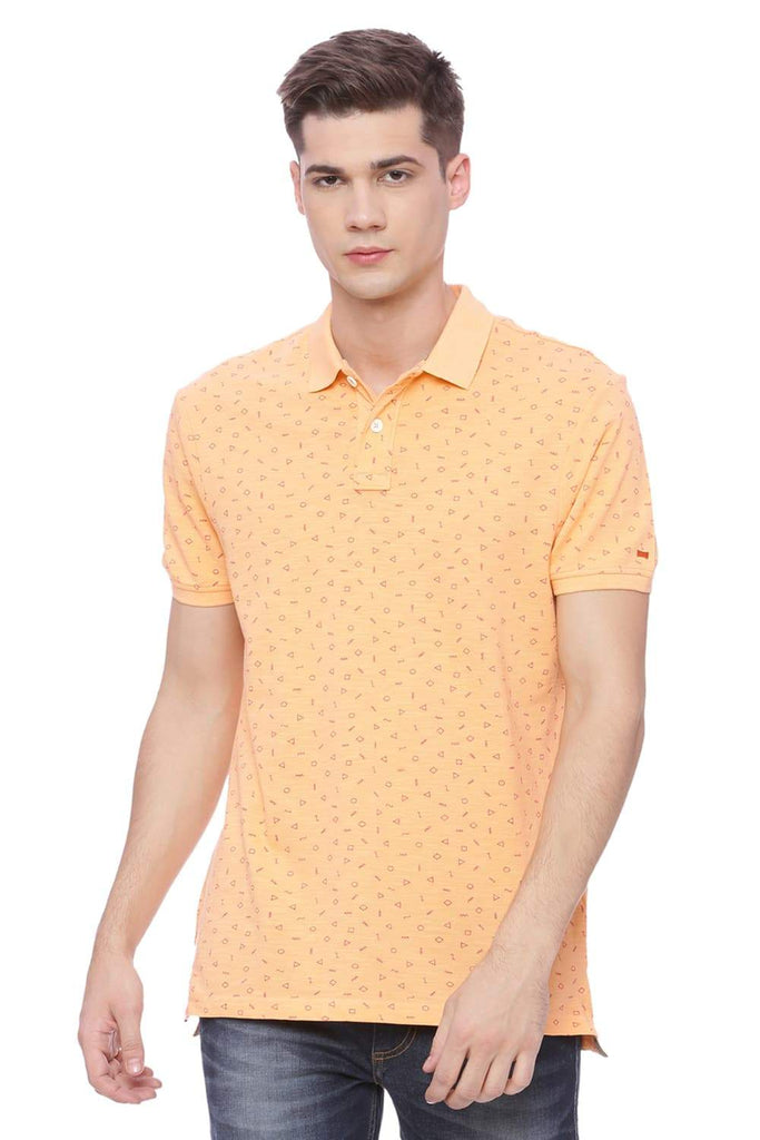 BASICS MUSCLE FIT PEACH COBBLER PRINTED POLO T SHIRT-18BTS37914 (4491056021585)