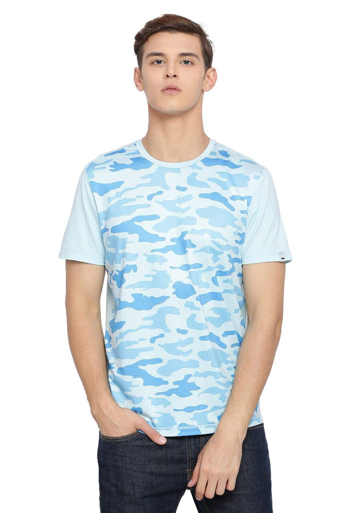 BASICS MUSCLE FIT PLACID BLUE PRINTED CREW NECK T SHIRT-18BTS39577 (4491547934801)