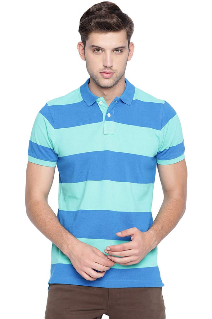 BASICS MUSCLE FIT POOL GREEN POLO T SHIRT-19BTS41011 (4491595972689)