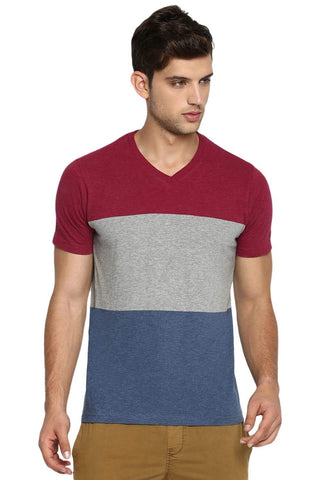 BASICS MUSCLE FIT PORT HEATHER V NECK T SHIRT-19BTS41022 (4491596038225)