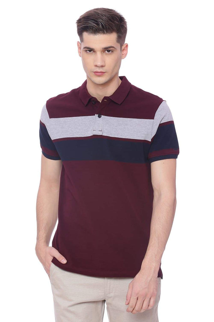 BASICS MUSCLE FIT PORT ROYAL WINE POLO T SHIRT-18BTS37951 (4491090690129)