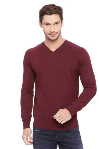 BASICS MUSCLE FIT PORT ROYALE WINE V NECK SWEATER-18BSW39790 (4491260067921)