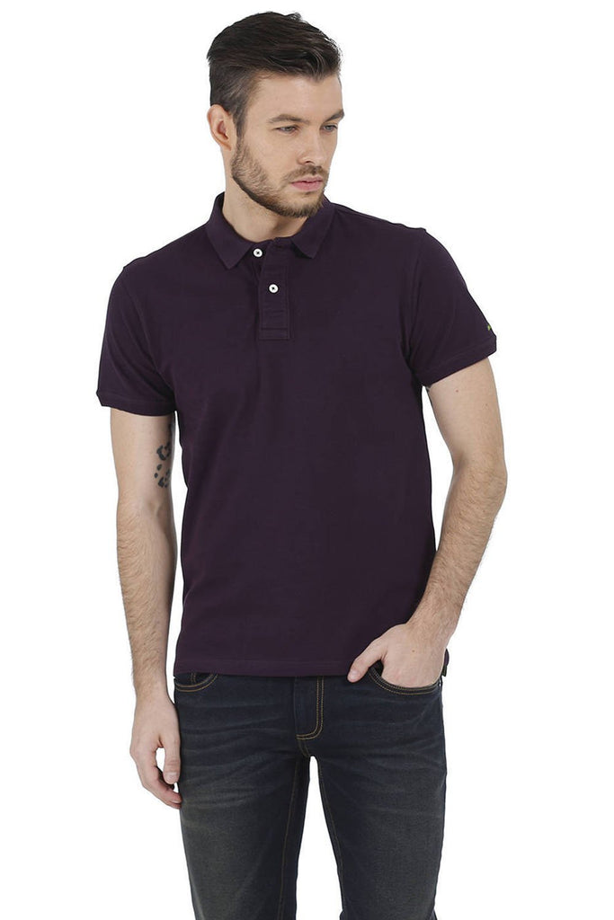 BASICS MUSCLE FIT PURPLE PIQU POLO T-SHIRT-15BCTS32488 (4490915709009)