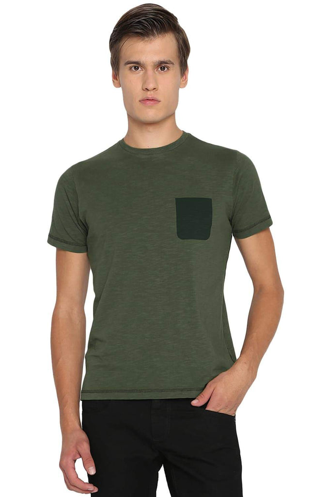 BASICS MUSCLE FIT RIFLE GREEN CREW NECK T SHIRT-19BTS40939 (4491585355857)