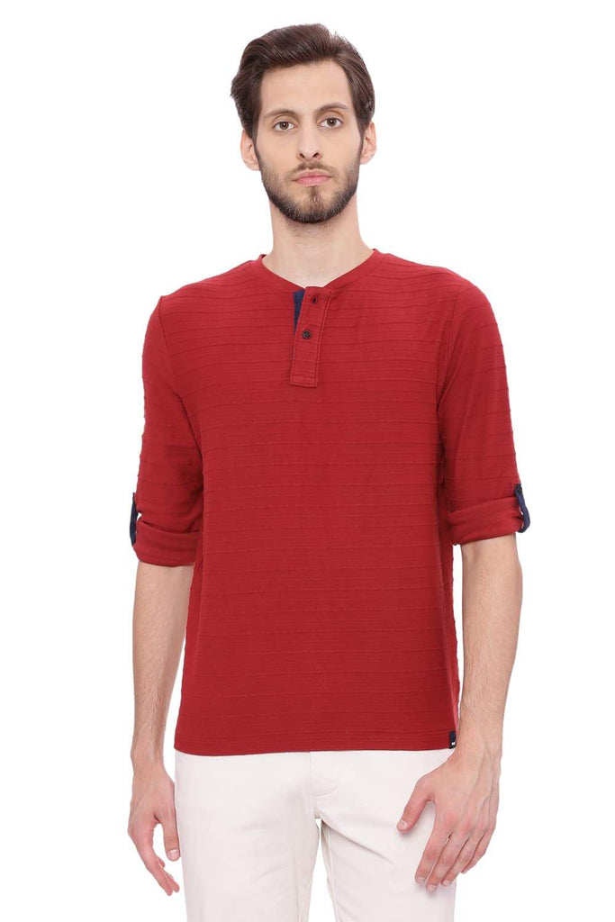 BASICS MUSCLE FIT ROSEWOOD HENLEY LONG SLEEVE T SHIRT-18BTS39492 (4491474468945)