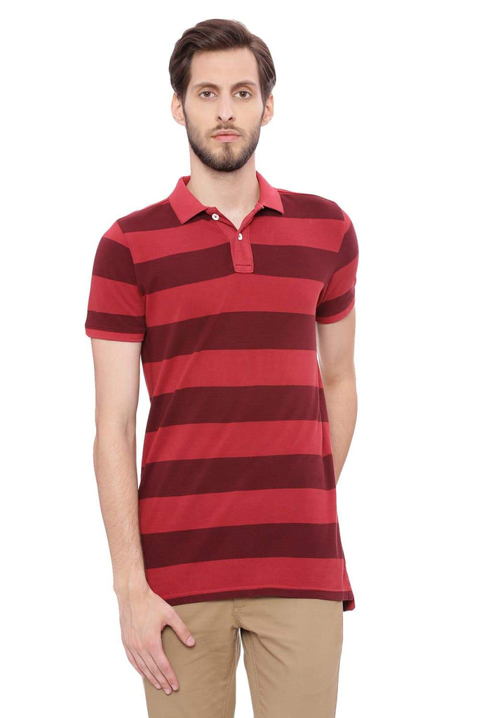 BASICS MUSCLE FIT ROSEWOOD PINK STRIPED RUGBY POLO T SHIRT-18BTS39401 (4491428495441)